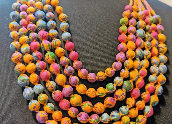 upcyled 6-strand silk sari necklace - rainbow