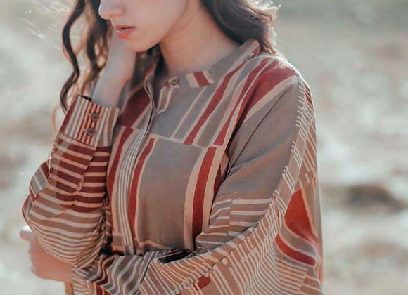 Blockprinted with natural dyes, free size top - red, khaki and olive