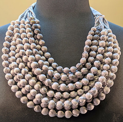 12-strand silk sari necklace - grey