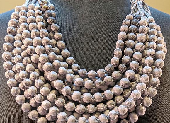12-strand silk sari necklace - grey