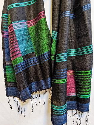 Silk jamdani scarf -  black with multi-colored geometric design