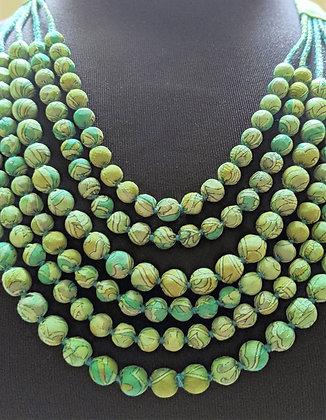 upcycled six-strand silk sari necklace - green print