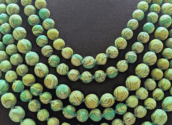 upcycled six-strand silk sari necklace - green print