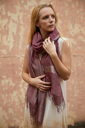 Linen and Zari wrap - mulberry and silver