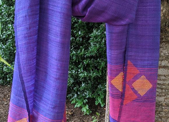 Silk jamdani scarf - violet with geometric motif in pink and orange