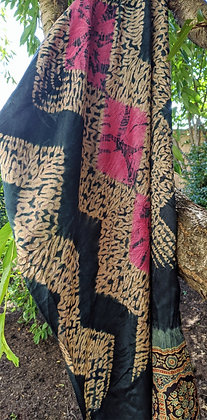 Shibori-Ajrakh Scarf - zig-zag stitched design with pink kumo