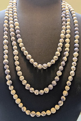 upcycled single-strand silk sari necklace - grey and off-white