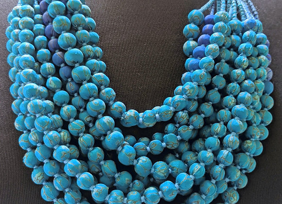 12-strand silk sari necklace - turquoise