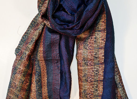 """upcycled silk sari """"kantha"""" scarf - prussian blue and bronze print"""