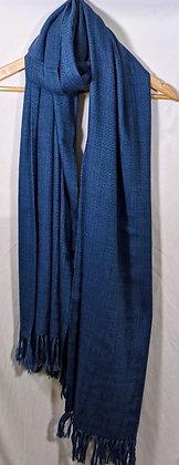 Hand-spun, Hand-woven, naturally dyed peace silk and wool wrap-indigo