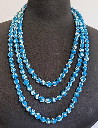 upcyled single-strand silk sari necklace - blue and white