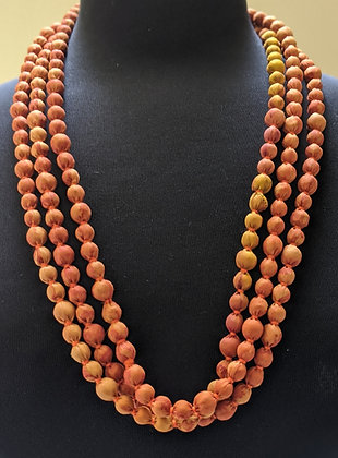 upcycled single-strand silk sari necklace - mustard