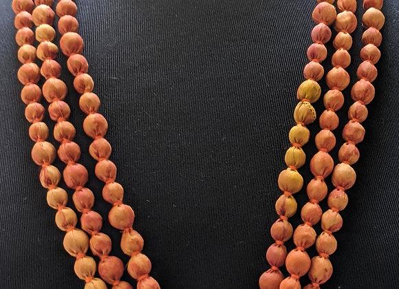 upcycled single-strand silk sari necklace - mustard