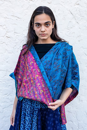 "upcycled silk sari ""kantha"" scarf - peacock  blue and rani pink print"
