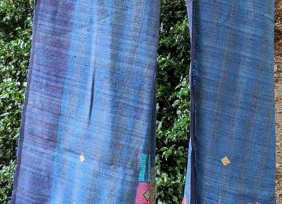 Silk jamdani scarf - blue with peacock motif