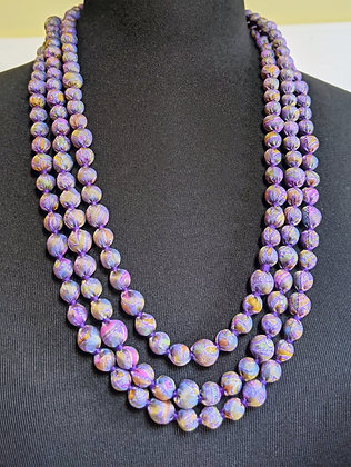 upcyled single-strand silk sari necklace - lavendar print