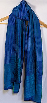 handwoven with handspun (khadi) cotton and silk scarf/stole - shades of blue