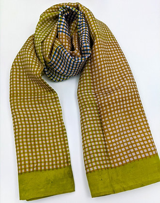 Hand-block printed scarf - color theory green, gold and blue