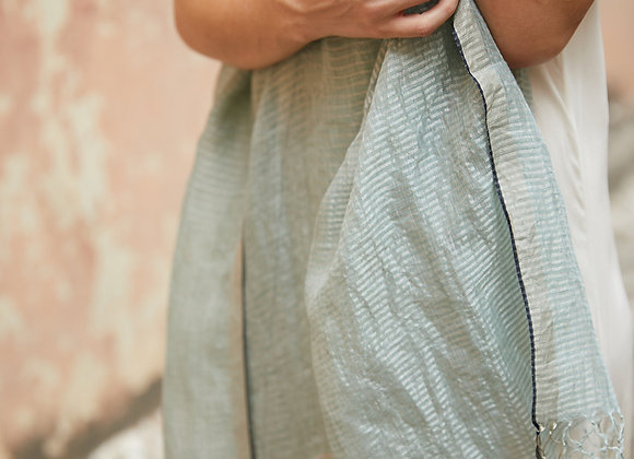 Linen and Zari scarf - Sea foam green and silver