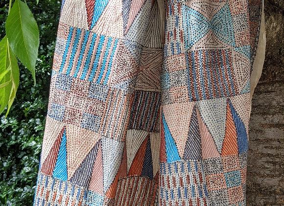 Nakshi Kantha - Allover kantha embroidery, multiple colors, geometric