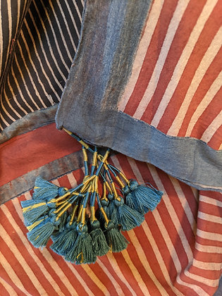 Blockprinted, naturally dyed square cotton scarf - red, cream, black stripes