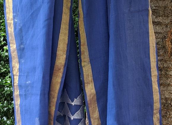 Jamdani scarf - blue khadi with white triangular motifs, metallic thread