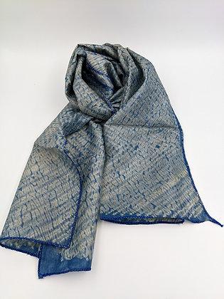handwoven wild (tussar) silk naturally dyed stitched shibori scarf - indigo