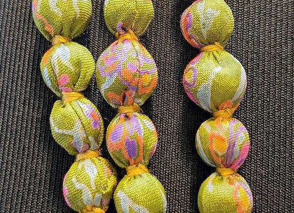 upcycled single-strand silk sari necklace - avocado with pink highlights