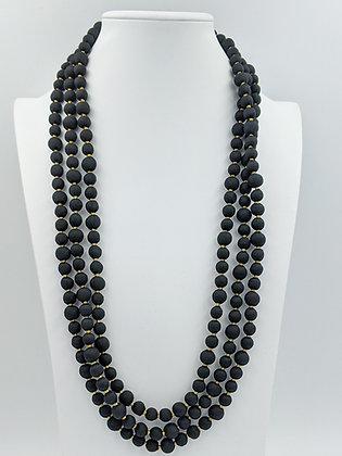 upcyled single-strand silk sari necklace - black with gold metallic thread