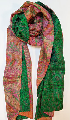 "upcycled silk sari ""kantha"" scarf - emerald green and orange-pink print"
