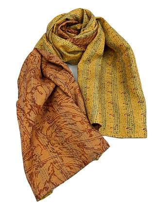 "upcycled silk sari ""kantha"" scarf - butterscotch print and yellow gold"