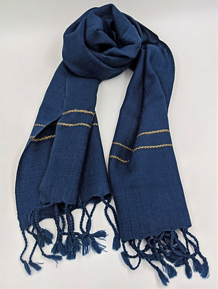 Hand-woven, naturally-dyed small woolen scarf - blue