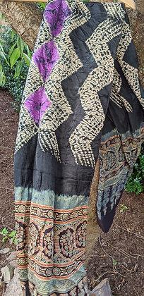 Shibori-Ajrakh Scarf - zig-zag stitched design with purple kumo