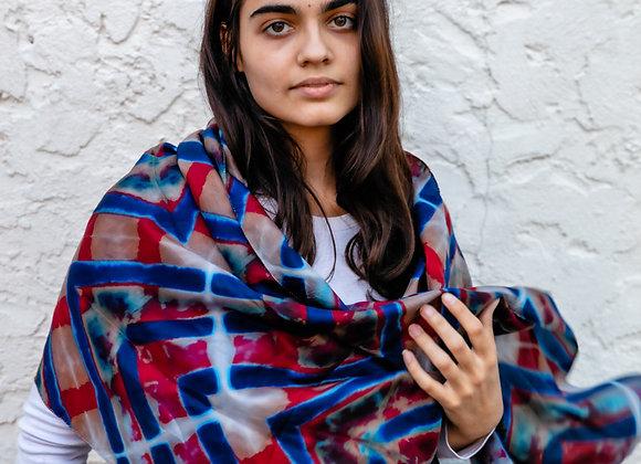 red, blue and grey silk itajime scarf