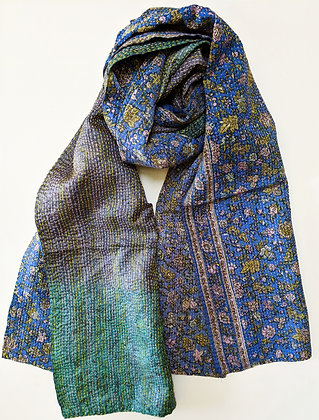 "upcycled silk sari ""kantha"" scarf -floral blue, lavender-grey-green"