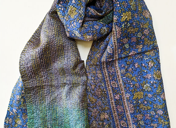 "upcycled silk sari ""kantha"" scarf -floral blue, lavender-grey-green"