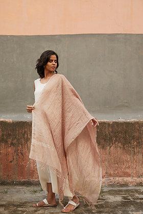 Linen and Zari wrap - Blush and silver