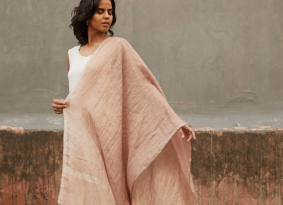 Linen and Zari wrap - Blush and silver