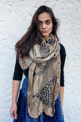 Metallic gold and black Bandhani (tie-dye) scarf