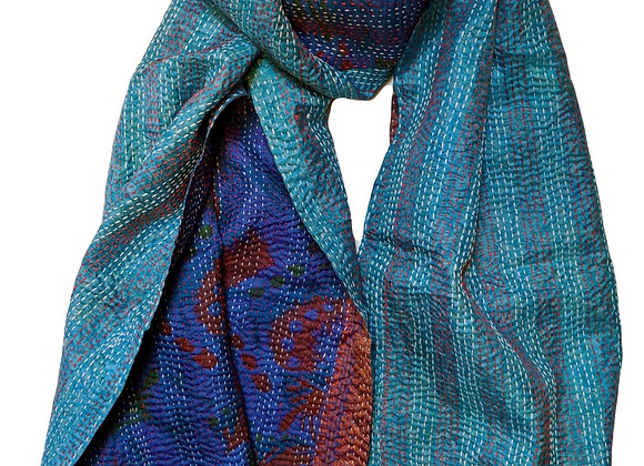 "upcycled silk sari ""kantha"" scarf - teal and violet & brown print"