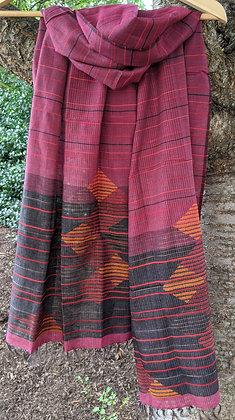 Khadi-Silk jamdani scarf - deep rose with choco-black border, diamond motifs