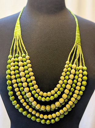 upcycled silk sari necklace - lime and avocado