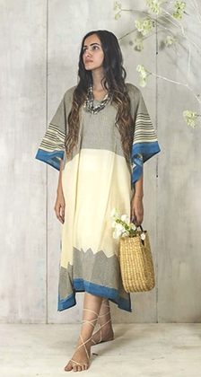 Blockprinted naturally dyed cotton kaftan dress - neutral with black stripes