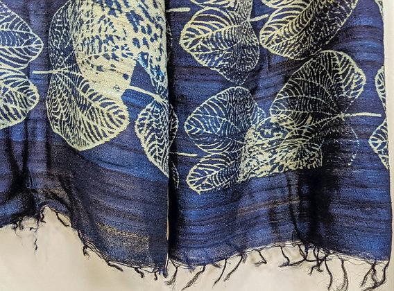 Hand-block-printed, handwoven and handspun  wild peace silk wrap - indigo leaf