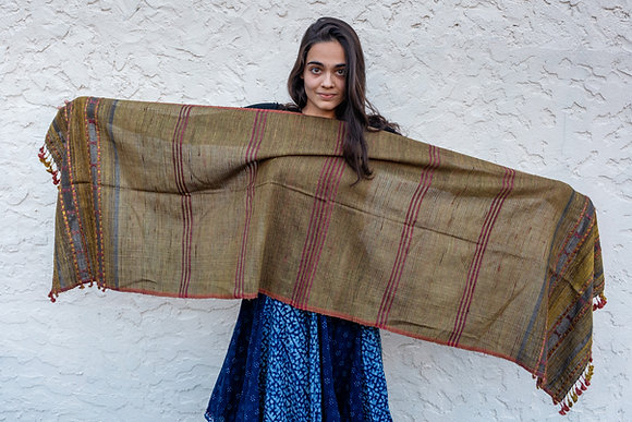 Cotton-Silk extra-weft bhujodi - pomegranate, flame of the forest and brazilwood