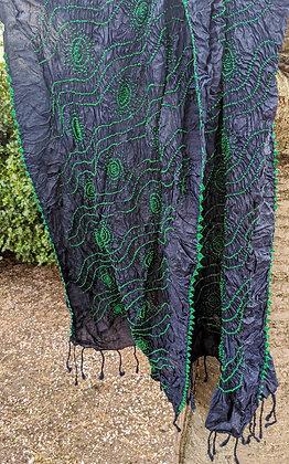 """Indigo and green """"bandhani"""" or tie-dye scarf"""