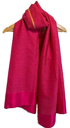 handwoven cotton-silk scarf - shocking pink