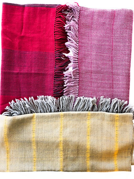 hree naturally dyed woolen stoles