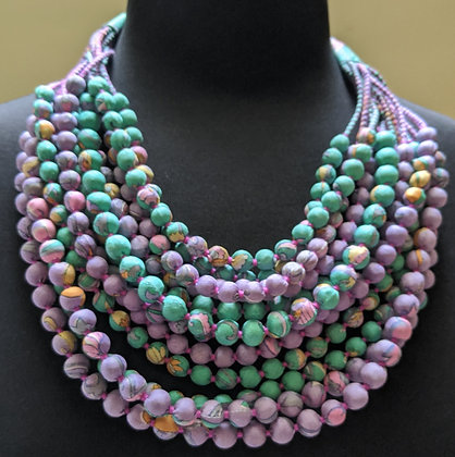 12-strand silk sari necklace - spearmint and pink