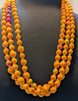 upcycled zerowaste vintage silk sari necklace